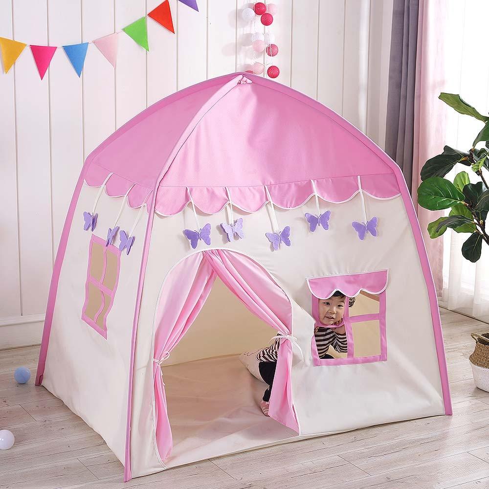 Tente de tipi pour enfants jouer tente avec fenêtre enfants Fort toile auvent Portable Playhouse pour jeux d'intérieur en plein air