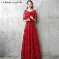 Vestido De Festa Red Lace Prom Dresses 2017 Bride Banquet Floor Length Annual Party Dress