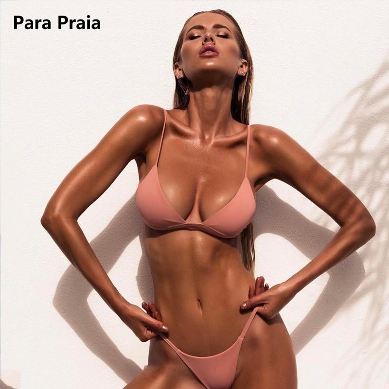 HTB1chiLteuSBuNjy1Xcq6AYjFXaY 9 Colors Solid Bikini Set 2019 Sexy Push Up Swimwear Women Brazilian Swimsuit Low Waist Biquini Halter Two Pieces Bathing Suit