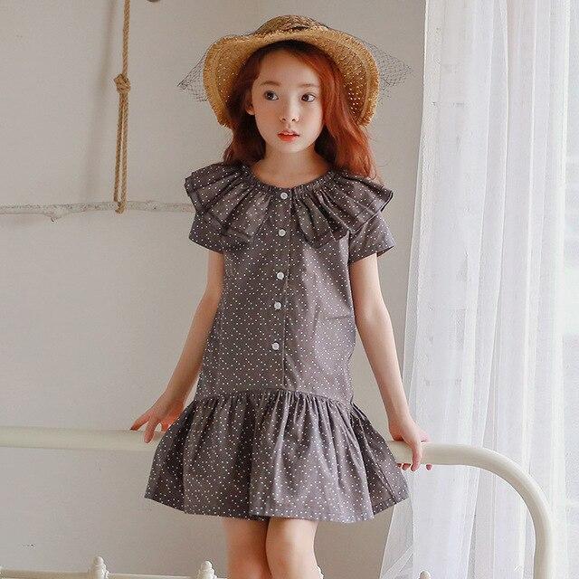 Оборками опрятный стиль дети платья для девочек детей школьного одежда dot с коротким рукавом детей платья девушки 2017 летней одежды