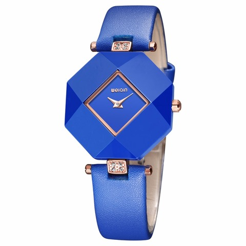 Hot drop ship Real Ceramic 2018 New Blue Star Jewelry Watch Fashion Gift Women Watches Surface Geometry Wristwatches Lahore