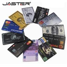 JASTER Thẻ Tín Dụng Đèn LED CỔNG USB 4GB 8GB 16GB 32GB 64GB Kim Loại Nhớ USB 2.0 dính Bút Tự Do Tùy Chỉnh Logo In Laser