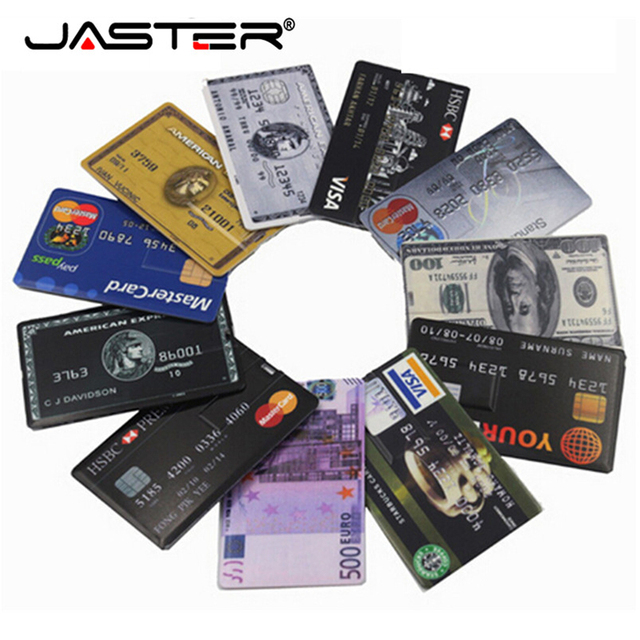JASTER 신용 카드 USB 플래시 드라이브 4 기가 바이트 8 기가 바이트 16 기가 바이트 32 기가 바이트 64 기가 바이트 금속 USB 2.0 메모리 스틱 펜 드라이브 무료 사용자 정의 로고 레이저 인쇄