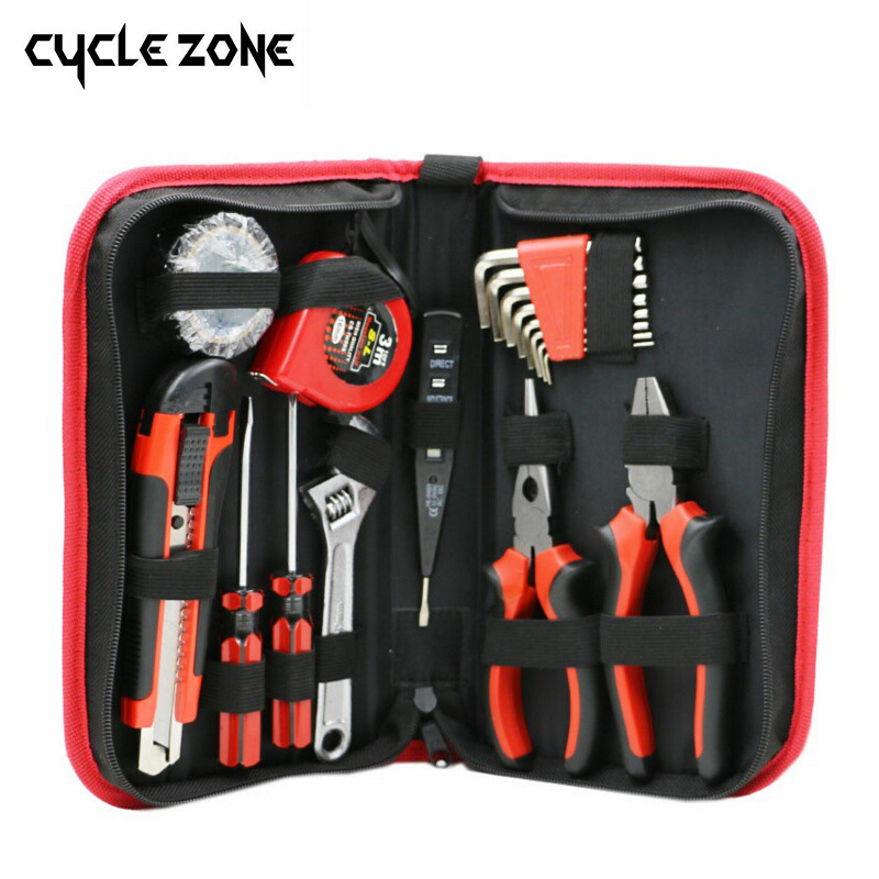 18pcs Home Toolbox Set Electrician Combination Tool Hardware MaintenanceKit Electric Pen Screwdriver Tape Wrenches Knive Pliers impact electric drill multi functional combination of electric screwdriver toolbox set hardware electrical toolbox