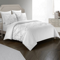 Yimeis Bedding Set Pure White Colors Bedding Jacquard Comforter Bedding Sets Queen BE37002
