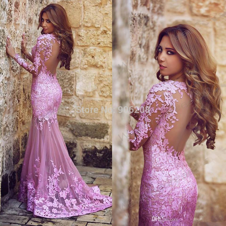 Sexy Purple Lace Appliques Long Mermaid   Prom     Dresses   2015 Long Sleeves Tulle Mother Of bride Party Gown Vestidos de fiesta Longo
