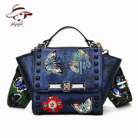 Luxury New Fashion Butterfly Embroidery Rivet Women Handbag High Quality Color Straps Wide Shoulder Bag Trapeze Messenger Clutch