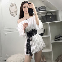 New Autumn Winter Style Wool Dress Women Fahion Elastic Waist Girls Long Sleeve Black White Dresses