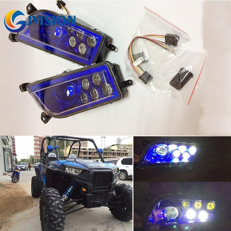 Auto Accessories Blue ATV LED Headlight kit headlamp for Polaris Razor Push 1000 High/Low Beam head light