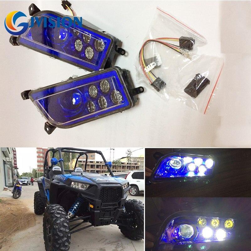 Auto Accessories Blue ATV LED Headlight kit headlamp for Polaris Razor Push 1000 High/Low Beam head light цена 2017