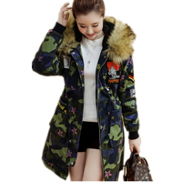 New Fashion Camouflage Women Warm Hooded Coats Fur Patchwork Long Padded Coat Long Sleeve Casual Loose Wadded Jackets LXT27
