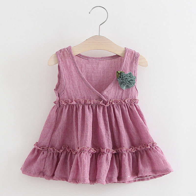 Infant Baby Solid Summer Sleeveless V Neck Princess Ruffles Tutu Girls Sundress Party Cute Kids Dress