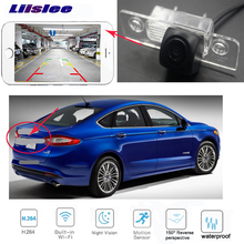 LiisLee car rear view WIFI  camera for Ford Fusion For Mondeo 2013~2018 MK5 HD Night Vision Reverse Backup  wireless  Camera liislee special rear view camera wireless receiver mirror monitor easy backup parking system for honda city mk5 2007 2013