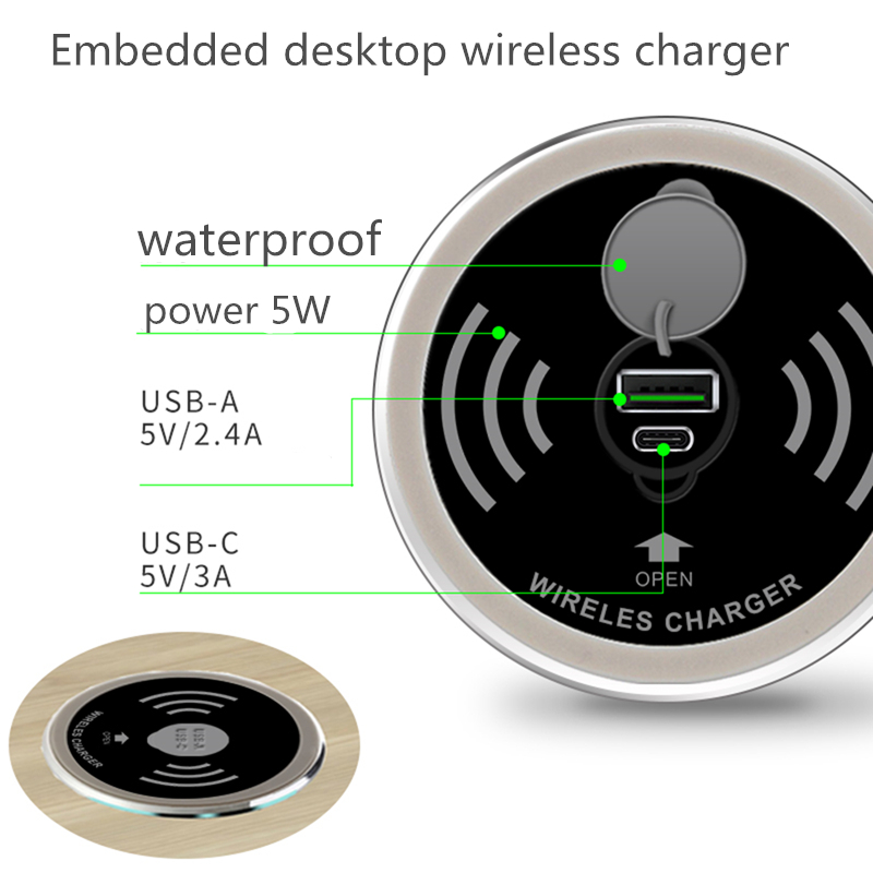 Built in Desktop Device Qi Fast Wireless Charger 15W 10W 7.5W or 5W Quick Charger 3.0 Embedded Caricabatter Tipe C Chargeur 3