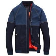 Men's Jeans Jacket Coat Men Patchwork Denim Bomber Jacket Chaquetas Hombre Bombers Homme Contrast Jacket Plus Size 4Xl 5XL