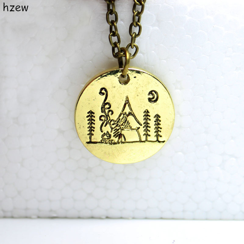 hzew nature pendant Camping under a big bright moon Lover Gift Live the simple life Lovely Fashion mountain pendant necklace