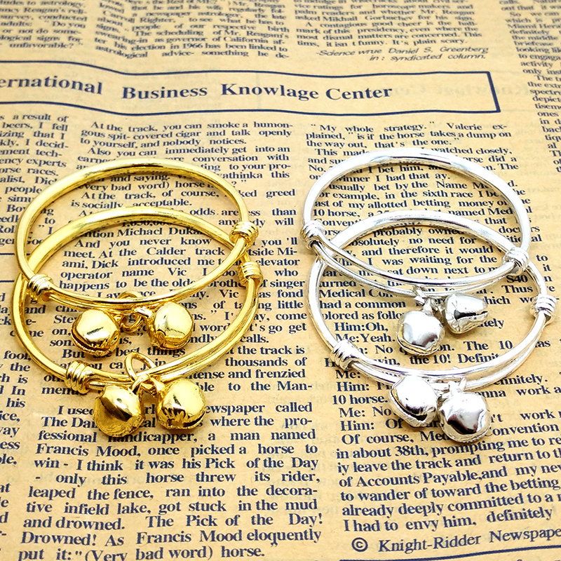 2PCS baby bell adjustable bracelet bracelet plated silver plated 18K gold Kid Baby Boy Girls Bracelet jewelry Birthday Gift  Стёганое полотно