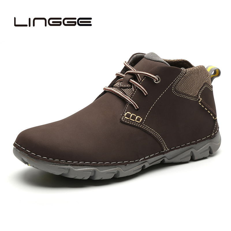 LINGGE Cow Leather Men Boots Design Warm Fur Men Ankle Shoes Chukka Boots For Men Fashion