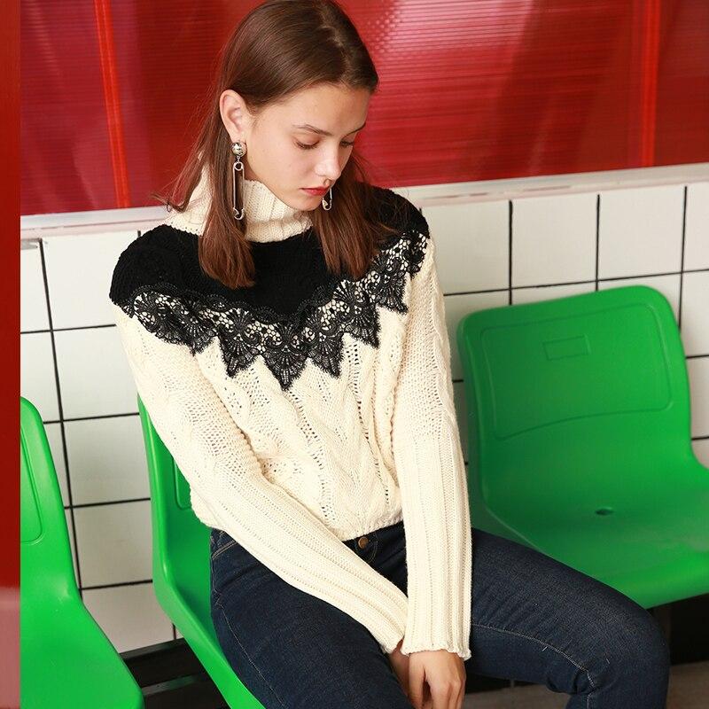 Mode Pulls Tops De Casual Femmes Dentelle Patchwork Chandails Blanc Tricot Dame Z431 Beige Automne Longues Lâche Col Roulé Hiver Manches TXx1xwYqP