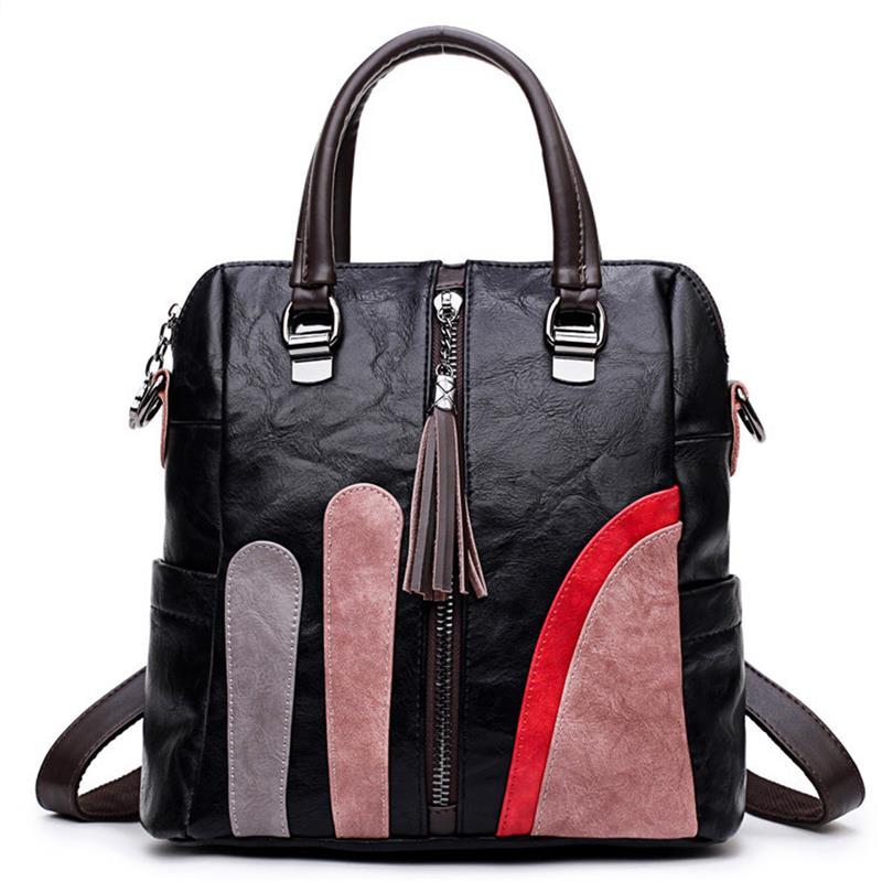 Vintage Women's Backpack Multifunctional Portable Shoulder Bag Casual Patchwork PU Leather School Backpack Mochila Feminina 2018 multifunctional pu leather zipper decor shoulder bag