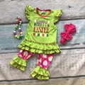 happy Easter design new baby girls kids boutique clothes ruffles cotton chick polka dot with matching headband and necklace