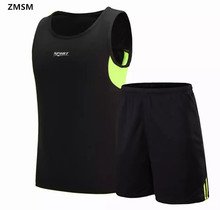 ZMSM Men s sleeveless Running Sets Training Suit Sports vest shorts Running shirt Basketball jerseys Against