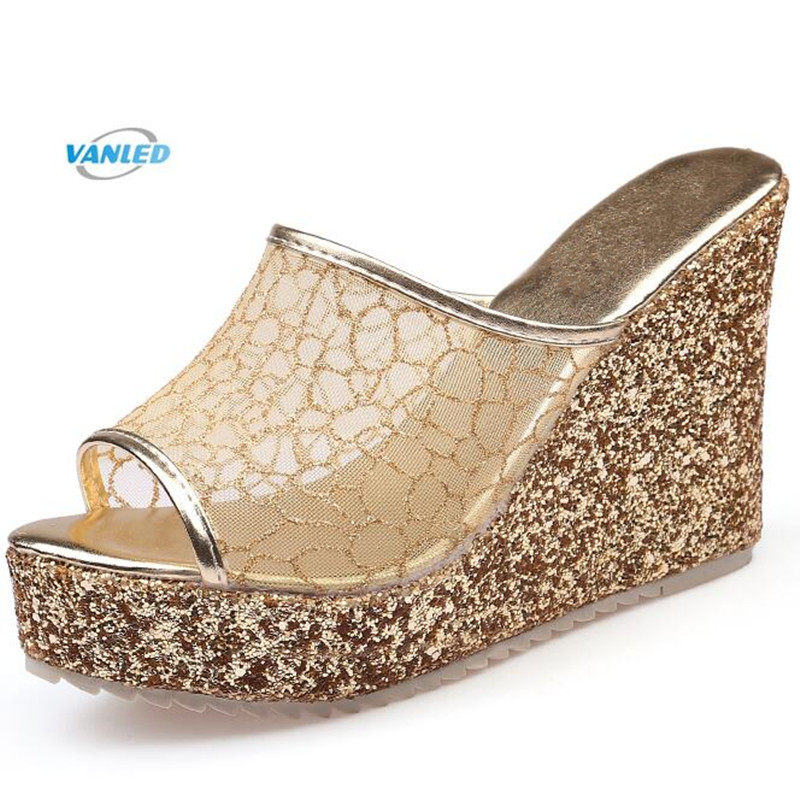 цена на 2018 New Summer Sequins Wedges Sandals Fashion Shoes Woman High-heeled Shoes with Thick Bottom Women Slippers Summer Sandals