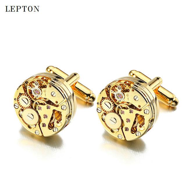 Lepton Watch Movement Cufflinks Mens Business Steampunk Gear Mechanism Cufflink Wedding Cuff Links Relojes Gemelos
