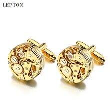 Lepton Watch Movement Cufflinks For Mens Business Steampunk Gear Watch Mechanism Cufflink Men Wedding Cuff links Relojes gemelos