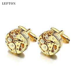 Lepton relógio movimento abotoaduras para homens negócios steampunk engrenagem mecanismo de relógio abotoaduras masculino casamento manguito links relojes gemelos