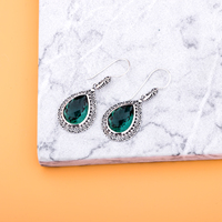 MetJakt Natural Green Crystal Earrings Checkerboard Cutting Stone Solid 925 Sterling Silver Vintage Earrings for Women's Jewelry