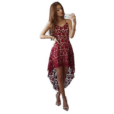 2017 Горячая винтажная женская летняя без рукавов кружевная Элегантная Дамская короткая спереди длинное вечернее короткое платье