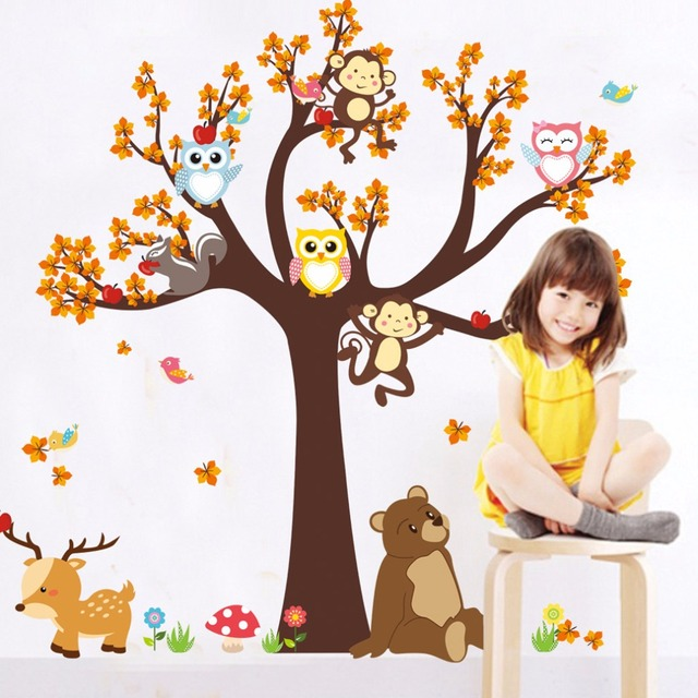 Cute Cartoon Forest Animal Giraffe Monkey Owls Tree Wall Sticker
