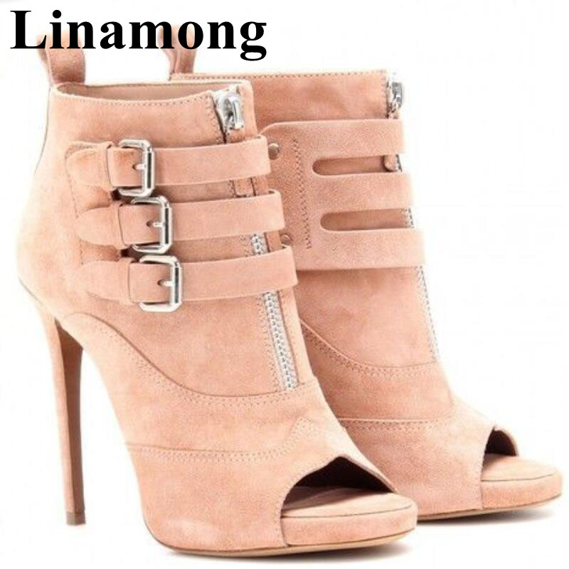 2019 Hottest Buckle Decoration Front Zipper Solid Flock Sexy Peep Toe And Thin High Heel Spring And Autumn Fashion Women Boots2019 Hottest Buckle Decoration Front Zipper Solid Flock Sexy Peep Toe And Thin High Heel Spring And Autumn Fashion Women Boots