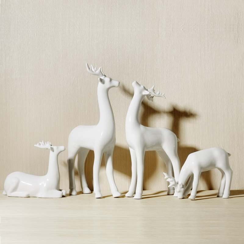 China White Deer Figurines Ornaments Home Office Stylish Living/ Study Room Table Art Decoration Ceramic Crafts X'max Gift