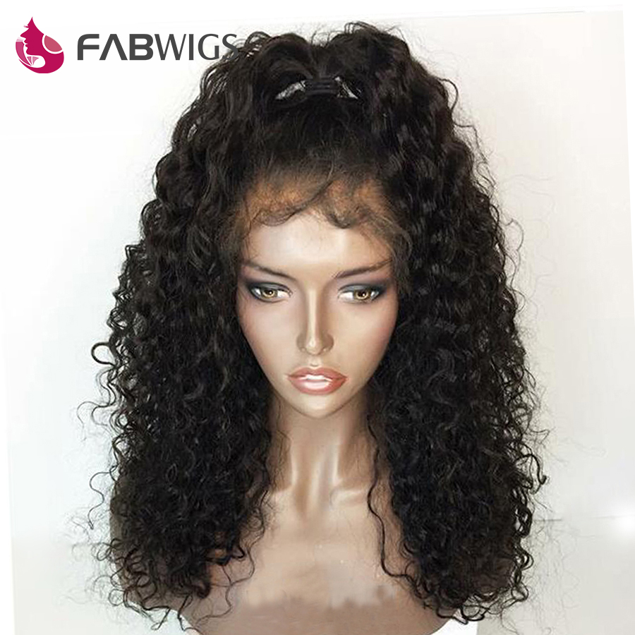 Fabwigs Curly Lace Front Human Hair Wigs Brazilian Human Hair Wigs with Baby Hair Remy Hair