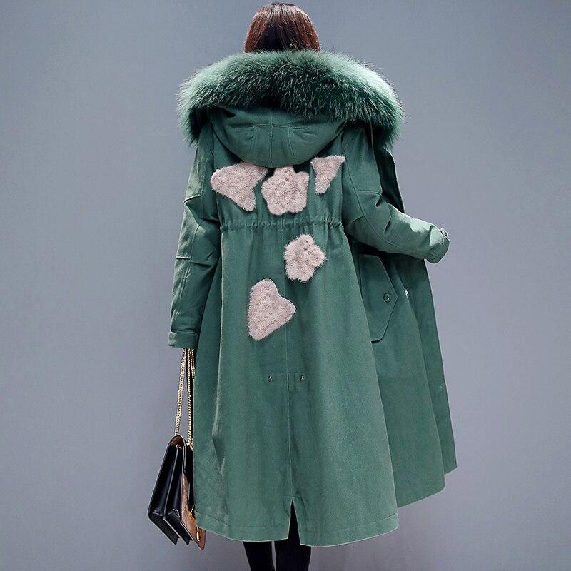 Capuche Femmes D'hiver 2019 Nouveau Col Loisirs Chaud Femelle Veste Grande Manteau Parka Survêtement Vestes Taille X À Parkas long Green De Thicking Fourrure rHnrwfqO
