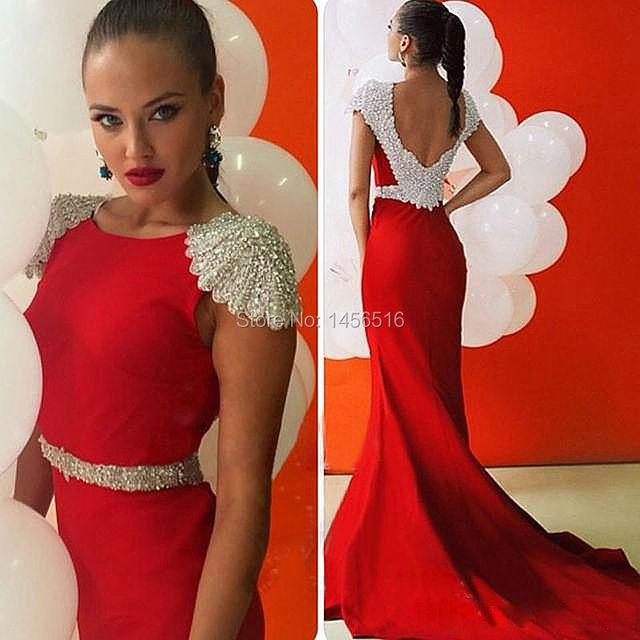 9116 W Robe De Soirée Rojo Con Encanto Sirena de la Manga Casquillo de Raso Con Cuentas Lentejuelas Atractivo Backless Formal Elegante Vestidos de Noche Largos 2017