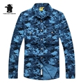 Fashion Designer Mens Denim camouflage Casual Shirts printed Long Sleeve Casual Shirts For Men Chemise Homme M~3XL C2E4