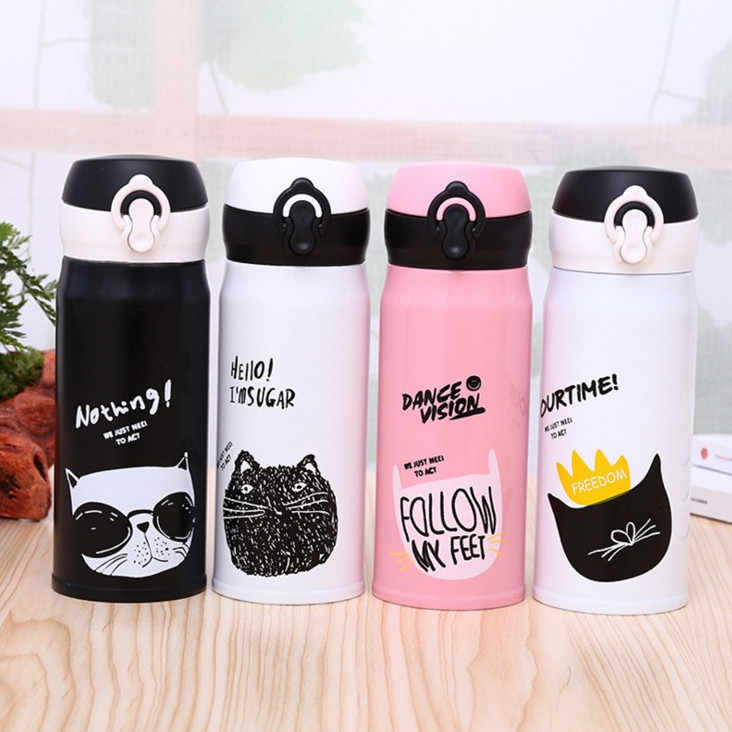 350ml Cartoon Cat Stainless Steel Vacuum Flasks Thermos Mug Thermal Water Bottle Tumbler Thermocup