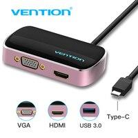 Vention C סוג C ל HDMI VGA USB 3.0 רכזת USB USB 3.1 נקבה ממיר מתאם ממיר עבור Macbook Chromebook פיקסל סוג-c