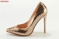 עקבים גבוהים אופנה נשיים דק העקב משאבות נעלי שמלת אישה זהב נחש סקסי להחליק על נעלי צד הבוהן מחודדת עקבי מחט