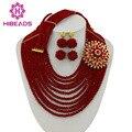 2017 Perfect Red Crystal Joyería de Los Granos Africanos Set Nigeriano Beads Africanos Joyería de la Boda de Tela de Encaje Envío Gratis GS032