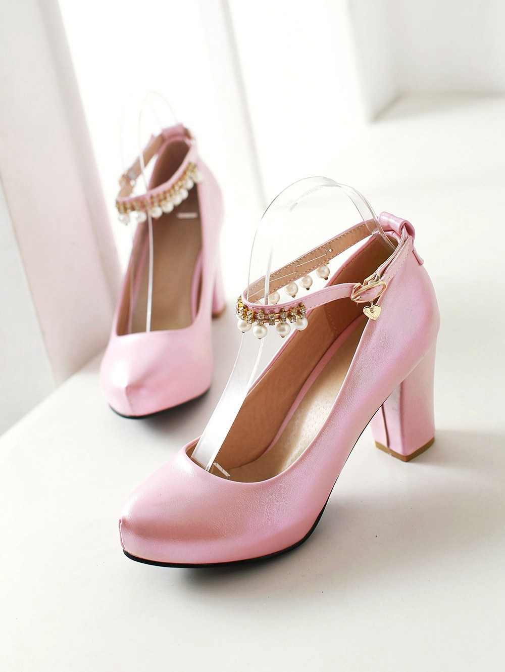 2017 Chunky High Heeled Pink Bridal Wedding Shoes Beaded White Female Buckle Elegant Pumps Silver Gold40
