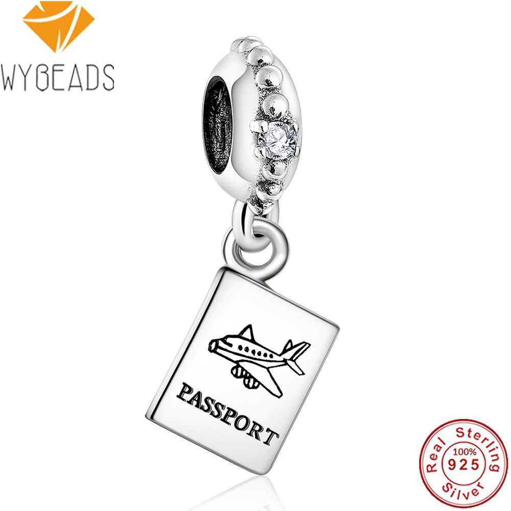 WYBEADS 925 Sterling Silver Charm Airplane Passport Charms European Bead Fit Snake Chain Bracelet Bangle DIY Accessories Jewelry