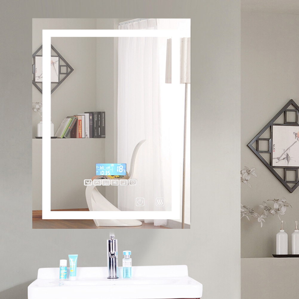Fast Deliver 1pc Smart Mirror Led Bathroom Mirror Wall Bathroom Mirror Bathroom Toilet Anti-fog Mirror With Touch Screen 23w 6000k Hwc Punctual Timing Bathroom Hardware Bath Mirrors