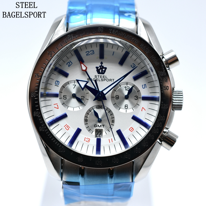 Chronograph Full Stainless Steel Automatic Mechanical Waterproof Sport Military Watch