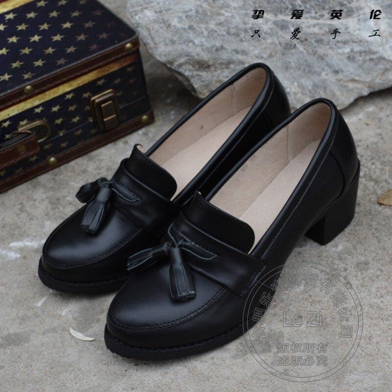 ФОТО Dress Shoes Womens Shoes Black Shoe Pure Color Cover Heels Modern Puppy Heel Cow Split Fringe Soft Leather Large Code