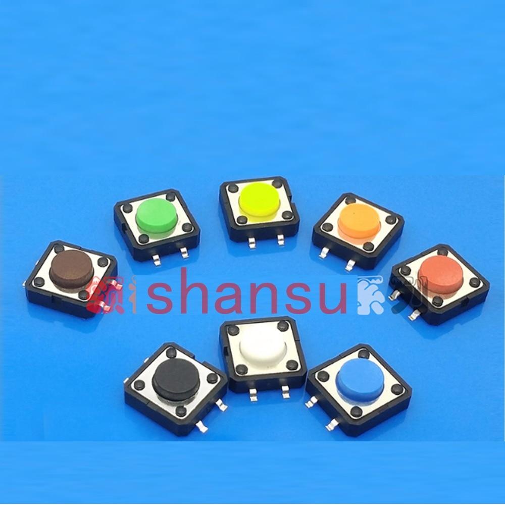 7 цветов Бесплатная доставка сенсорный выключатель 12*12*9 мм сенсорный выключатель света 4 фута микро 12x12x9 мм переключатель SMD четыре фута патч