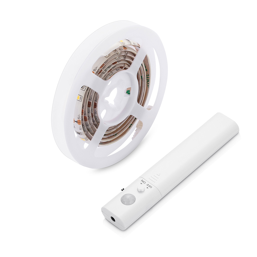 Battery Motion Sensor LED Strip Bed Light 1M with automatic shut off Timer Sensor Kitchen Cabinet Light Warm white